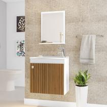 Gabinete Armário para Banheiro Pia Siena Branco Efeito Ripa - Móveis Bechara