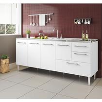 Gabinete balcão para pia  2 metro com gavetão  branco - ByMadero Mobilia