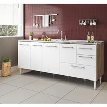 Gabinete balcão para pia  2 metro com gavetão castanho branco - ByMadero Mobilia