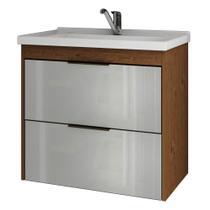 Gabinete Banheiro 60cm Porta Vidro com Pia Lavanda Amendoa/Branco - Mgm Moveis