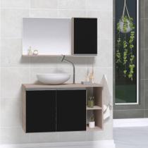 Gabinete banheiro armário 80cm + cuba vidro branca + espelheira madeirado/preto - Moveis Joia