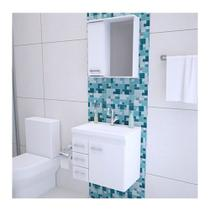 Gabinete Banheiro Bandeirantes Kit Completo MDP Branco 50cm - Primolar