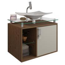 Gabinete Banheiro com Cuba e Prateleira Vidro Lagos MGM Amendoa/Off white - Mgm Moveis
