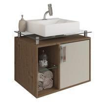 Gabinete Banheiro com Cuba e Prateleira Vidro Porto MGM Amendoa/Off white - Mgm Moveis