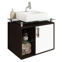 Gabinete Banheiro com Cuba e Prateleira Vidro Porto MGM Café/Branco - Mgm Moveis