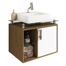 Gabinete Banheiro com Cuba e Prateleira Vidro Porto MGM Carvalho/Branco - Mgm Moveis