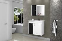Gabinete Banheiro com Pia Munique Branco_Preto - ALADDIN