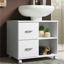 Gabinete Banheiro com recorte para Pia e rodízios Multimóveis Branco -