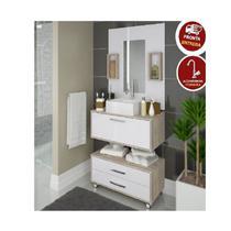 Gabinete Banheiro Completo Cuba Balcão Espelho Kit Torneira - Arte Cas