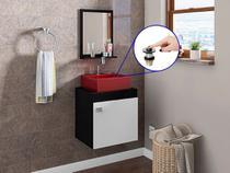 Gabinete Banheiro Nero Cuba Vermelho Torneira AA05 Val Click - Docelar