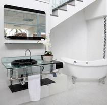 Gabinete Banheiro Vidro Estilo Chopin Preto 70 cm - Pettra