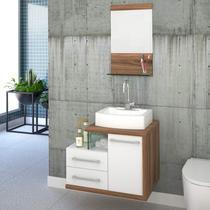 Gabinete com Cuba de Apoio RT41 e Espelheira com Prateleira de Vidro Legno 651W Compace Branco/Nogal -