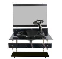 Gabinete com cuba para banheiro de vidro itxx 60cm inox - mármore preto - Cubas E Gabinetes