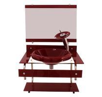 Gabinete com cuba para banheiro de vidro itxx 60cm inox - vermelho cereja - Cubas E Gabinetes
