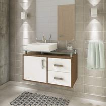 Gabinete de Banheiro 1 Cuba Sobreposta em Base de Vidro Évora MGM Móveis Amêndoa/Branco -