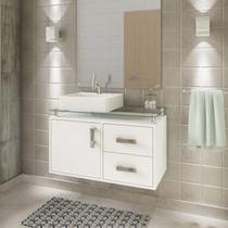 Gabinete de Banheiro 1 Cuba Sobreposta em Base de Vidro Évora MGM Móveis Branco -
