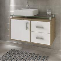 Gabinete de Banheiro 1 Cuba Sobreposta em Base de Vidro Évora MGM Móveis Carvalho/Branco -