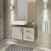 Gabinete de Banheiro 1 Cuba Sobreposta em Base de Vidro Évora MGM Móveis Carvalho/Off White -