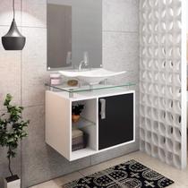 Gabinete de Banheiro 1 Cuba sobreposta em base de vidro Lagos MGM Móveis Branco/Preto -