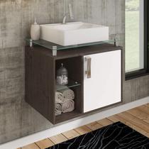 Gabinete de Banheiro 1 Cuba Sobreposta em Base de Vidro Porto MGM Móveis Café/Branco -
