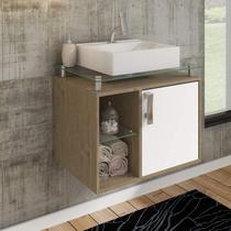 Gabinete de Banheiro 1 Cuba Sobreposta em Base de Vidro Porto MGM Móveis Carvalho/Branco -