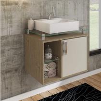 Gabinete de Banheiro 1 Cuba Sobreposta em Base de Vidro Porto MGM Móveis Carvalho/Off White -