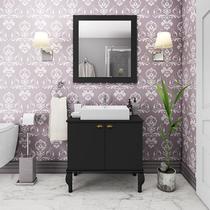 Gabinete De Banheiro Provençal Completo Balcão Cuba Espelho Preto - Movelbento