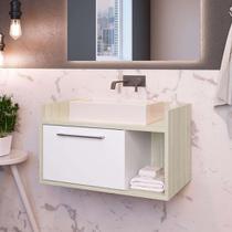 Gabinete de Banheiro Sinclair II 1 PT Nogal e Branco - Estilare