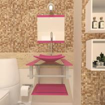 Gabinete de vidro 40cm ac com cuba quadrada - rosa - Cubas e Gabinetes