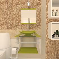 Gabinete de vidro 40cm ac com cuba quadrada - verde oliva - Cubas e Gabinetes