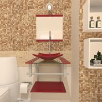 Gabinete de vidro 40cm ac com cuba quadrada - vermelho cereja - Cubas E Gabinetes