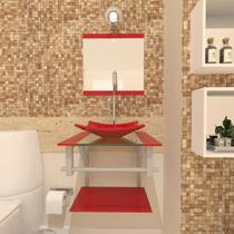 Gabinete de vidro 40cm ac com cuba quadrada - vermelho ferrari - Cubas E Gabinetes