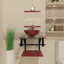 Gabinete de vidro 40cm ap com cuba redonda - vermelho cereja - Cubas E Gabinetes
