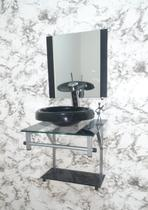 Gabinete de Vidro 40x40cm Para Banheiro - Cuba Chapéu 33cm - Dahora