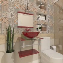 Gabinete de vidro 45cm ac com cuba redonda - vermelho cereja - Cubas E Gabinetes