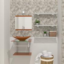 Gabinete de vidro 45cm ac com cuba retangular - dourado real - Cubas E Gabinetes