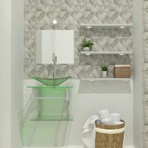Gabinete de vidro 45cm ac com cuba retangular - incolor - Cubas E Gabinetes
