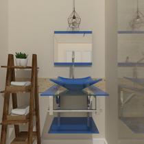 Gabinete de vidro 45cm iq inox com cuba quadrada - azul - Cubas E Gabinetes