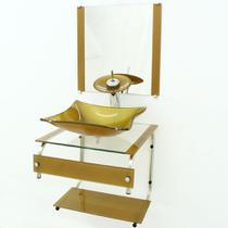 Gabinete de vidro 45cm it inox com cuba retangular - dourado real - Cubas E Gabinetes