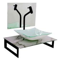 Gabinete de vidro 50cm com cuba quadrada - mármore branco - Cubas E Gabinetes