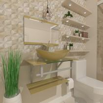 Gabinete de vidro 60cm ac com cuba oval - champanhe - Cubas e Gabinetes