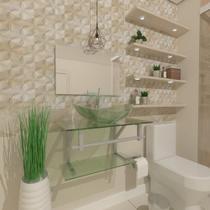 Gabinete de vidro 60cm ac com cuba oval - incolor - Cubas E Gabinetes