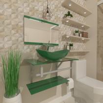 Gabinete de vidro 60cm ac com cuba oval - verde - Cubas E Gabinetes