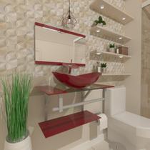 Gabinete de vidro 60cm ac com cuba oval - vermelho cereja - Cubas E Gabinetes