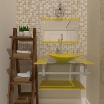 Gabinete de vidro 60cm ac com cuba quadrada - amarelo - Cubas E Gabinetes
