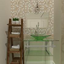 Gabinete de vidro 60cm ac com cuba quadrada - incolor - Cubas E Gabinetes