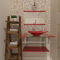 Gabinete de vidro 60cm ac com cuba quadrada - vermelho ferrari - Cubas E Gabinetes