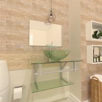 Gabinete de vidro 60cm ac com cuba redonda - incolor - Cubas E Gabinetes