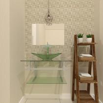 Gabinete de vidro 60cm ac com cuba retangular - incolor - Cubas E Gabinetes