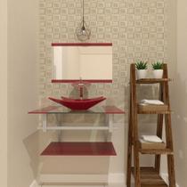 Gabinete de vidro 60cm ac com cuba retangular - vermelho cereja - Cubas E Gabinetes